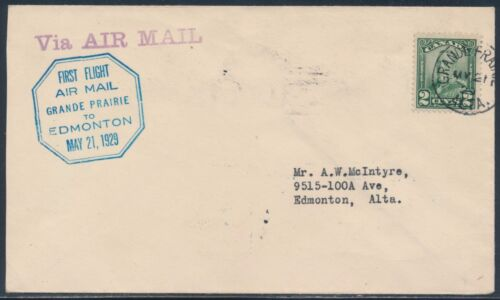 #CL472900a 1ST FLT AIRMAIL ON CANADA SEMI POSTAL COVER 1929 TO EDMONTON BT9304