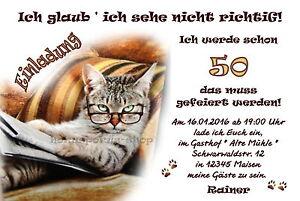 Das Bild Wird Geladen 50 Lustige Einladungskarten Katze Geburtstag  Einladungen Jedes Alter