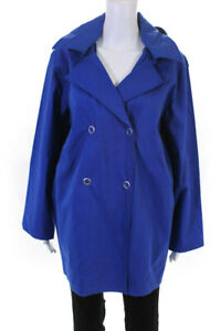 Pret Pour Partir Womens Hooded Double Breasted Gemma Raincoat Blue Size 44