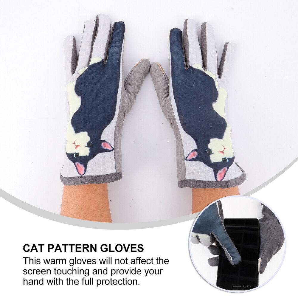 1 Pair Lovely Cat Pattern Glove Delicate Practical Hand Cover Cat Pattern Glove