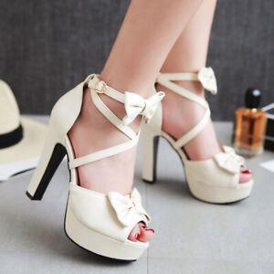 Women Platform Sandals Strappy Bow Chunky Super High Heel Open Toe Pumps Shoe