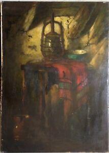 Belle Nature Morte Peinture à L'huile Lampe Intérieur Four °rouge Couverture Fin