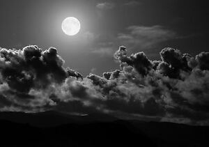 Framed Print - Black & White Night Sky with Full Moon (Picture ...