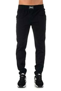 Pantalone-sport-uomo-EVERLAST-autunno-inverno-tipo-tuta-nero-felpato-con-polsino