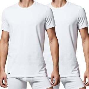 9257ec15df Details about Lacoste Underwear Men's Cotton Stretch 2-Pack Crew Neck  T-Shirt, White Round Tee