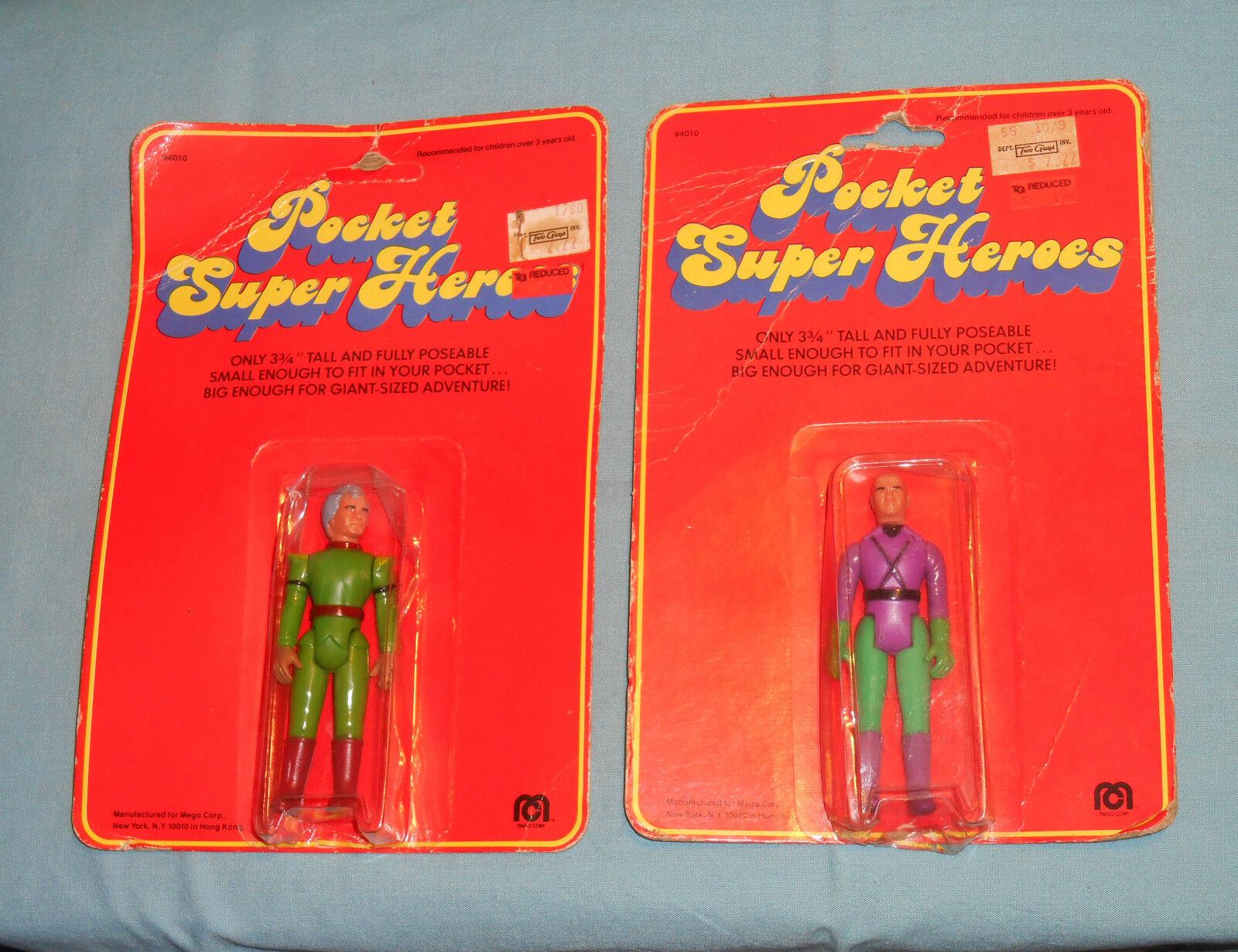 Vintage Mego Bolsillo súperhéroes Jor-el & Lex Luthor menta en tarjeta súper Heroes