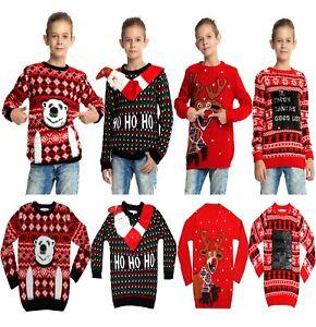 NEW CHILDRENS KIDS BOYS GIRLS CHRISTMAS XMAS RETRO WINTER JUMPER SWEATER SIZE