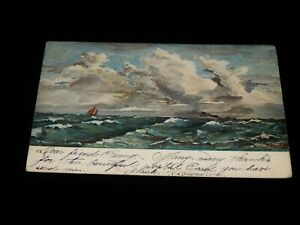 Vintage-Postcard-NEW-YORK-NY-Yachting-On-The-Rough-Ocean-To-NYC-Postage-Due-1905