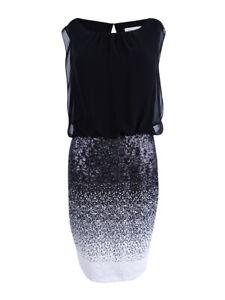 Calvin-Klein-Women-039-s-Sequined-Blouson-Sheath-Dress