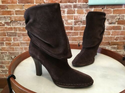 Laurie Felt Hot in Hollywood Black Suede Slouchy High Heel Ankle Boots New