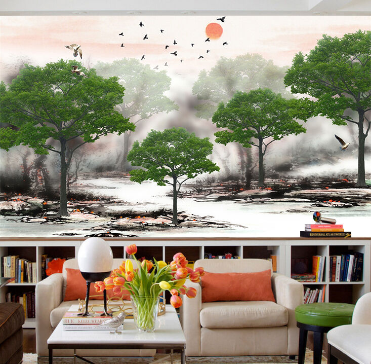 3D sunlight Green trees bird Wall Paper Print Decal Wall Deco Indoor wall Mural