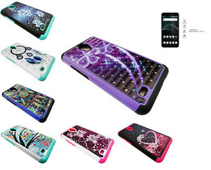 Details about Tempered Glass + Sparkle Phone Case Cover For AT&T AXIA  QS5509A / Cricket Vision