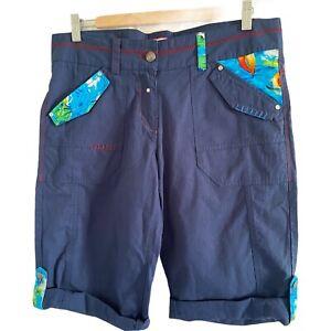 Joe Browns Cargo pantaloni corti taglia 12 Blu Navy cinch in vita