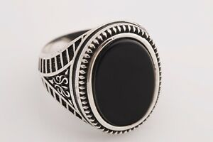 Turkish-Handmade-Jewelry-Oval-Black-Onyx-925-Sterling-Silver-Men-039-s-Ring-11