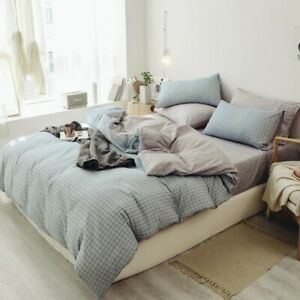 Washed Cotton Duvet Cover Bed Sheet Set 3/4Pieces Breathable and Bedding Set