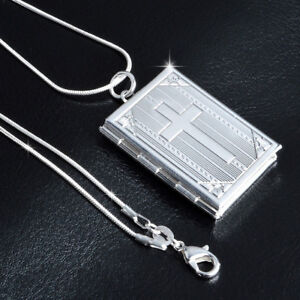 Silver-Cross-Book-Photo-Locket-Pendant-Chain-Necklace-Chocker-Women-Man-Jewelry