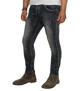 Jeans-Uomo-Slim-Fit-Pantaloni-strappati-elasticizzati-Denim-Pantalone-casual