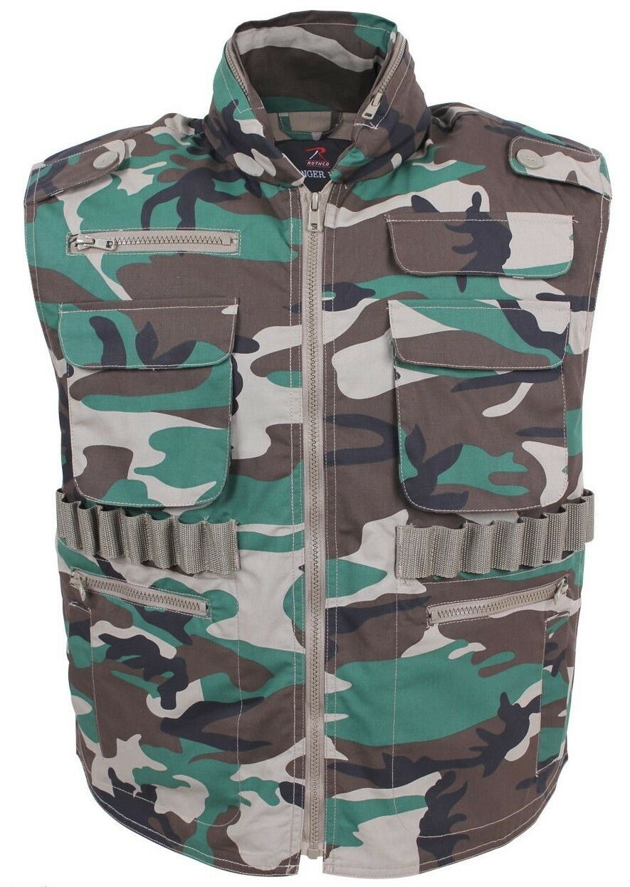 Ranger vest tactical woodland camouflage hunting vest hood camo redhco 6555
