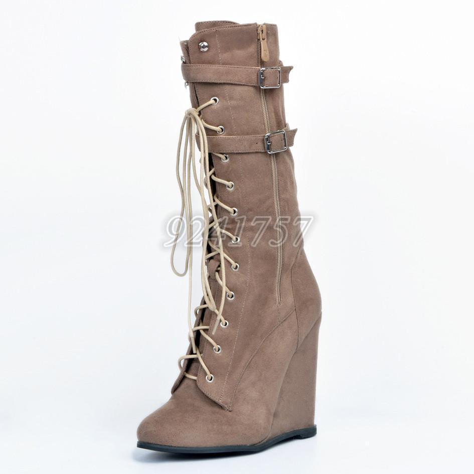 Damen Schuhe Wadenhohe Plateau Wedge Stiefel Stiefeletten Wadenhohe Schuhe Stiefel  Gr:33-46/47 bd3049