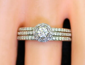 Nice-Estate-14K-Gold-Appx-1-Ct-RB-Diamond-Wedding-Ring-Set-Size-8-75