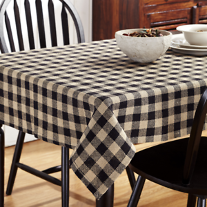 Image Is Loading BURLAP BLACK CHECKED TABLE CLOTH 60X60 034 COTTON