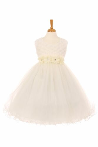 Girls 3D Flower-Adorned Top with Tulle Skirt Dress Style #SP2064