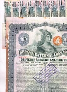 German-External-Loan-1924-Dawes-Loan-100-Gold-Bond-cancelled-coupons