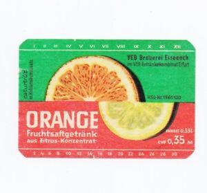 Etikett-fuer-Fruchtsaftgetraenk-034-Orange-034-vom-VEB-Brauerei-in-Eisenach-um-1980