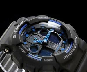 CASIO-G-SHOCK-GA100-1A2-GA-100-1A2-LARGE-FACE-MAGNETIC-RESISTANT-BLACK-BLUE
