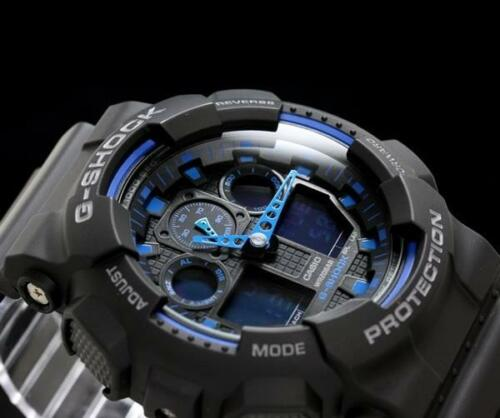 1 of 1 - CASIO G-SHOCK, GA100-1A2 GA-100-1A2, LARGE FACE, MAGNETIC RESISTANT, BLACK, BLUE