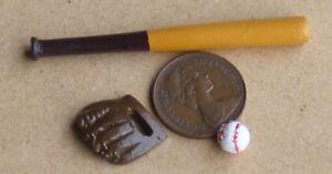 Dolls House Baseball Bat Glove /& Ball Miniature Games Accessory 1:12 Scale
