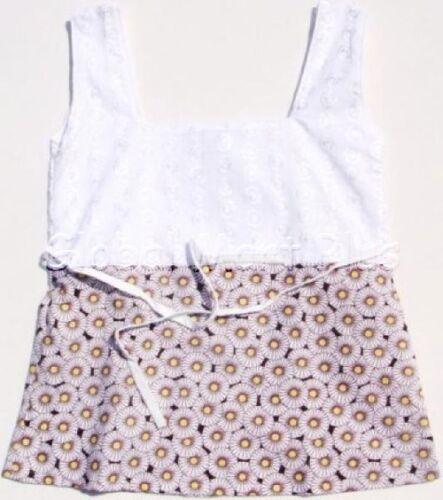Tank Top Shirt Floral Flower Print Eyelet Design Wide Strap Youth Girls Cleo Dot