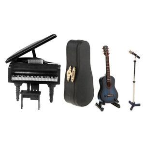 3-Piece-Miniature-Musical-Instrument-Microphone-Guitar-Piano-1-12-Dollhouse