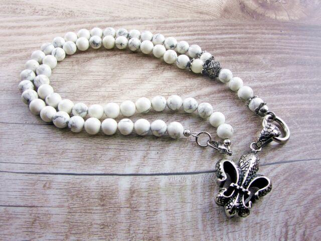 Rosenkranz Kette Howlith Halskette Edelstahl Anhänger Lilie Handmade weiß 10 mm