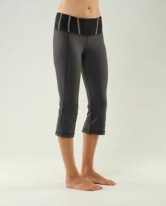 womens lululemon heathered black tadasana slit crop capri