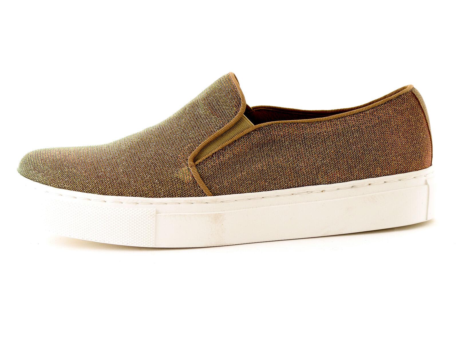 KMB Schuhe Slipper Slip On Notturno Gold Glitzer Textil Gummi Leder