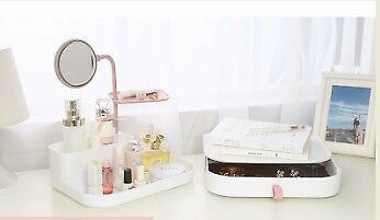 Stylish Makeup Organizer with Rotatable Mirror, Multi-functional Plastic Cosmetic Jewelry Drawer Box