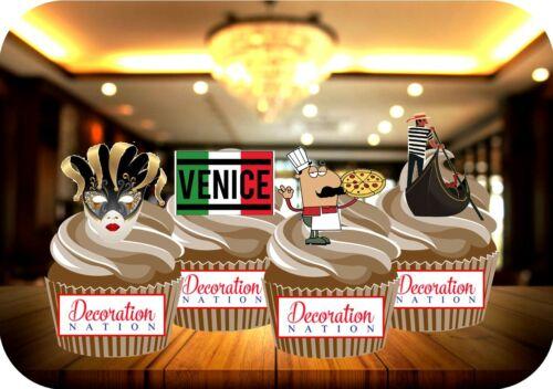 Italie Venise Mix gondole Masquerade Pizza 12 comestibles Standup gâteau Toppers italien