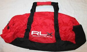 Polo Ralph Lauren RLX Mens Red Black Athletic Duffle Bag Shoulder Strap NWT $125