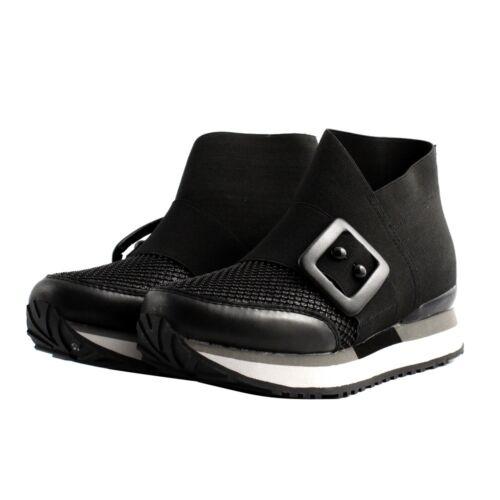 Elasticizzato Donna Pelle Sneakers Glitter Nera Apepazza Scarpe Fibbia Tessuto 6qgBCxapw