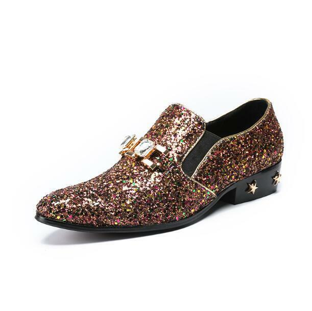 New Uomo Trendy Metal Decor Glitter Sequins Pelle Shoes Entertainer Club Shoes