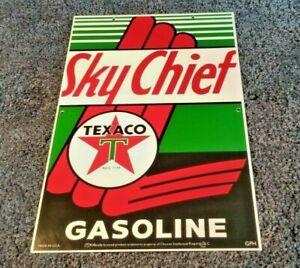 VINTAGE-TEXACO-SKY-CHIEF-GASOLINE-18-034-X12-034-PORCELAIN-METAL-ENAMEL-GAS-amp-OIL-SIGN