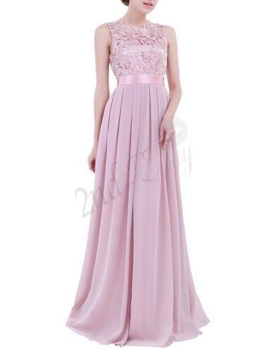 UK Stock Women Long Chiffon Evening Formal Party Ball Gown Prom Bridesmaid Dress