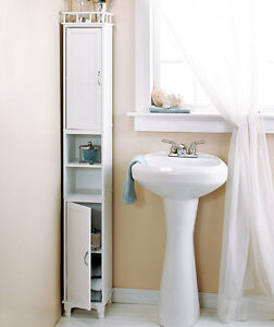 Bathroom storage ideas tower small spaces slim tall for Small slim bathroom cabinet
