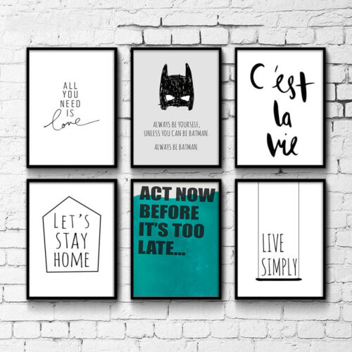 Cartoon Batman Canvas Poster Quote Art Print Modern Kids Room Wall Decor