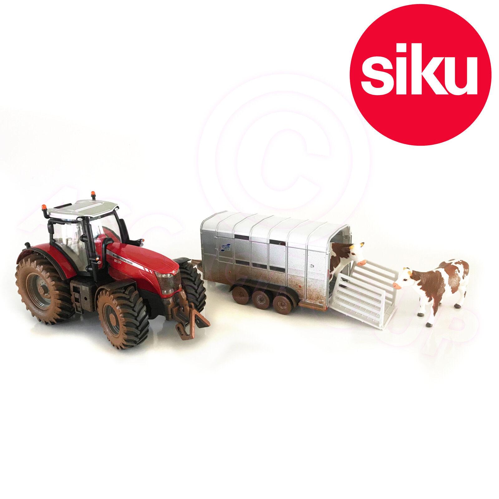 SIKU 8608 Massey Ferguson 8608 tracteur IFOR WILLIAMS Remorque 1 32 Die-Cast Model