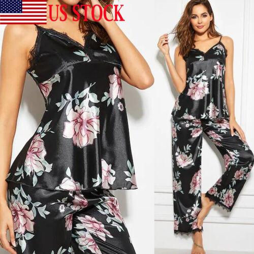 Women Lady Silk Satin Pajamas Set Pyjama Sleepwear Nightwear Loungewear Homewear