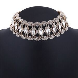 Prom-Choker-Bridal-Bling-Necklace-Party-Diamante-Crystal-Rhinestone-Jewelry-HOT