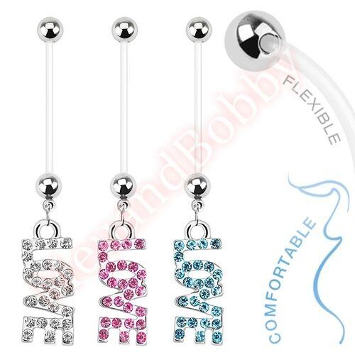 Bio Flex Pregnancy Bar Navel Ring Love CZ Belly Button Dangle Body Jewellery