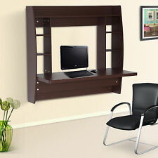 HomCom Office Computer Table Floating Wall Mount Desk Storage Shelf Brown New
